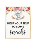 Elephant Baby Shower Help yourself to some snacks Printable Sign