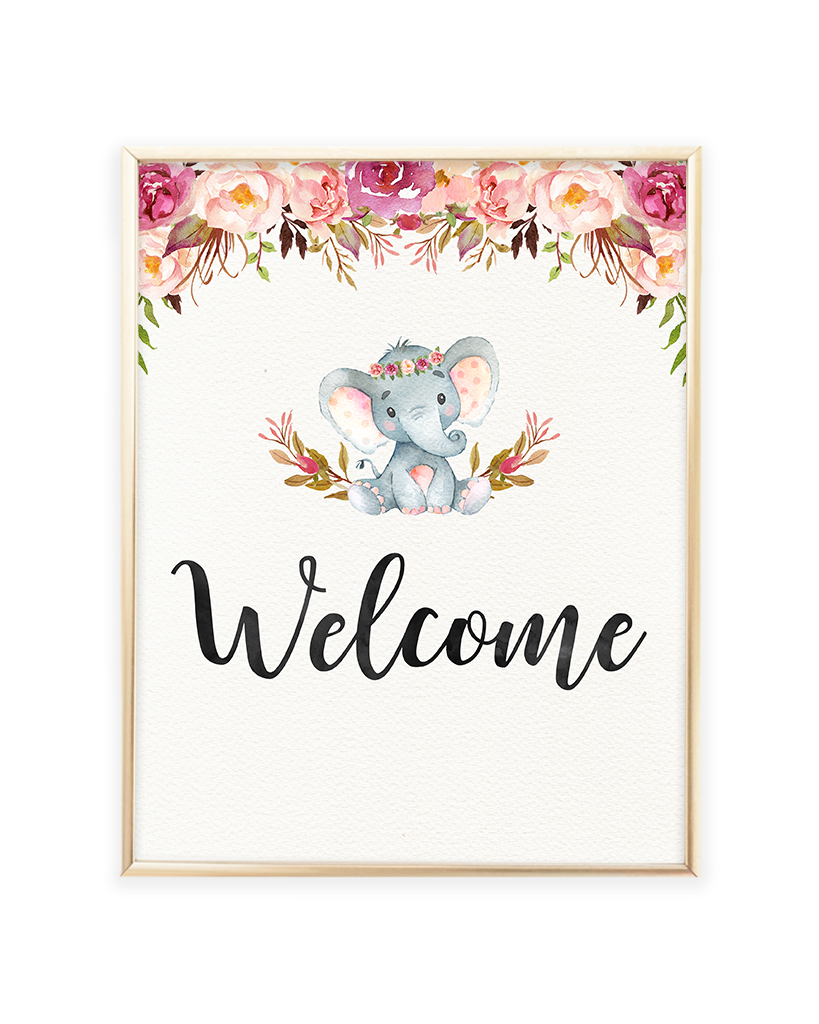 photograph relating to Baby Printables identify Elephant Kid Shower Welcome Printable Signal