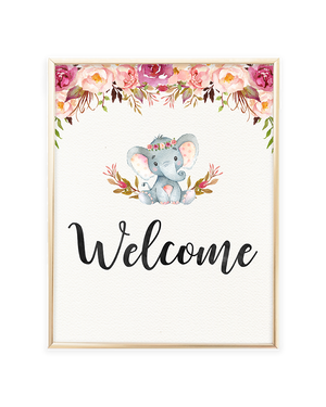 Elephant Baby Shower Welcome Printable Sign