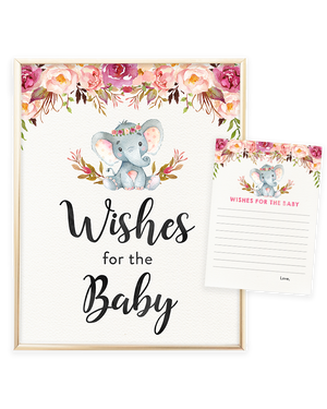 Elephant Baby Shower Printable Wishes for the Baby