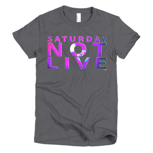Saturday Not Live Purple Spotlight Ladies T-shirt (Includes Back Printing)