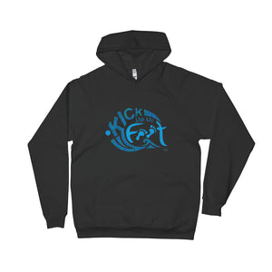 Kick Up Ur Feet™ Ocean Blue Logo Universal Black Fleece Limited Edition Hoodie