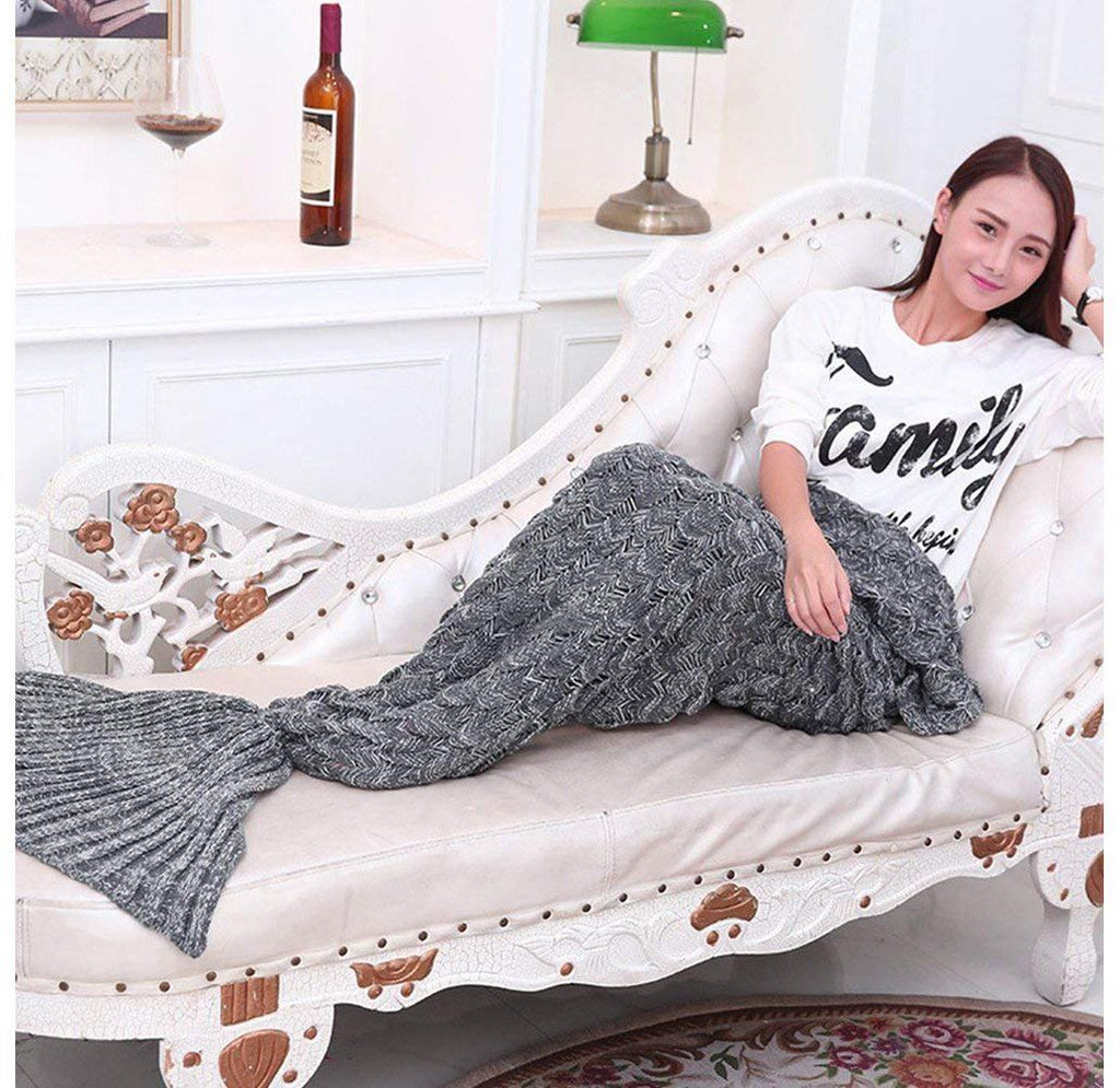 Mermaid Tail Hand-Knitted Warm & Soft Blankets – Regular or Fish Scale Design Blankets