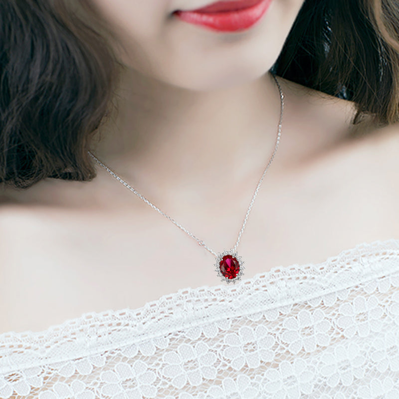 Gemstone nano ruby necklaces 925 sterling silver princess pendant free shipping aloadofball Image collections