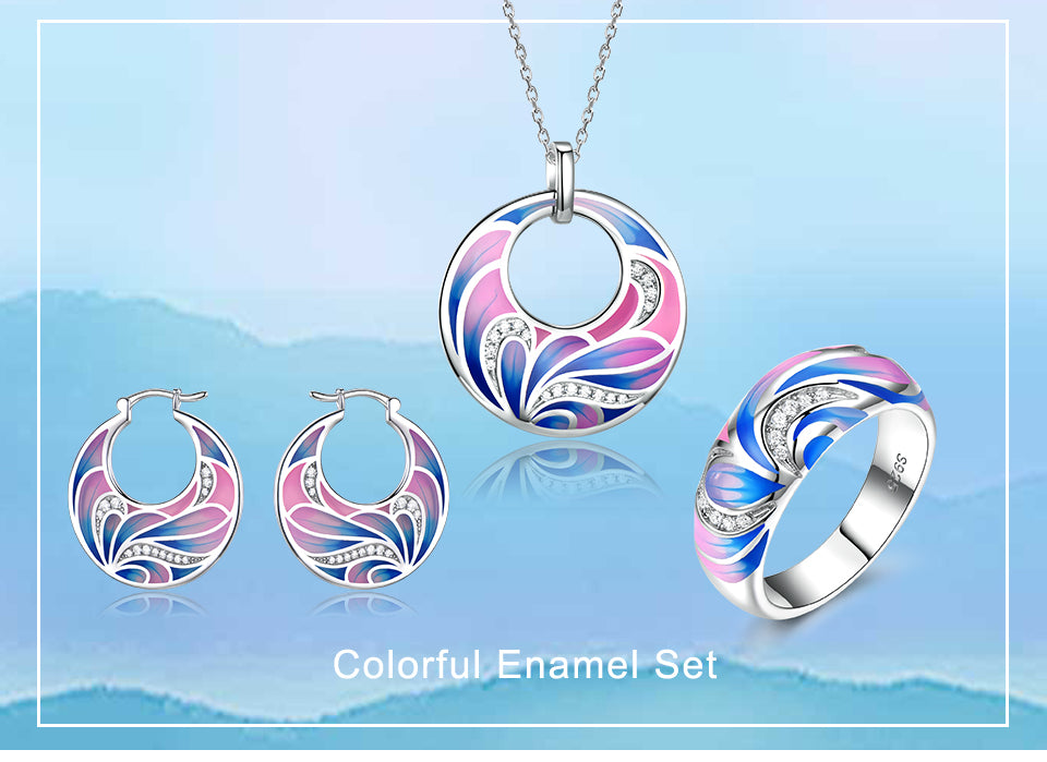 Colorful Enamel Flower Jewelry Set - umchos