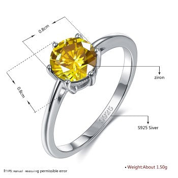 S925 Silver Japan and South Korea's new six-claw image super-flash eight-heart eight-arrow-colored zircon stone ring - umchos