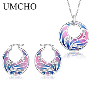 UMCHO 925 Sterling Silver Emerald Jewelry Sets - umchos