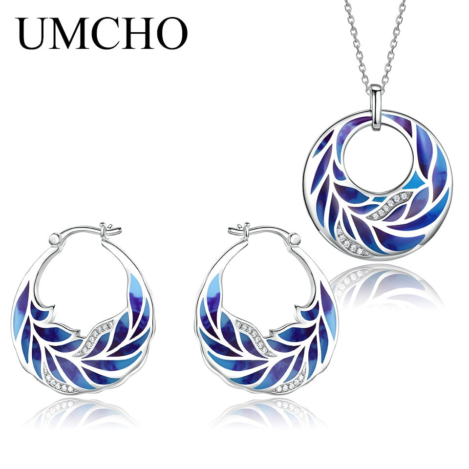 UMCHO 925 Sterling Silver Emerald Jewelry Set - umchos