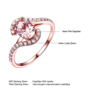 UMCHO Gemstone Nano Morganite Ring - umchos