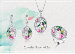 925 Sterling Silver Ladies Handmade  Enamel Jewelry Set - umchos