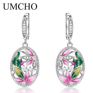 UMCHO Handmade Enamel Lotus Flower Drop Earrings - umchos