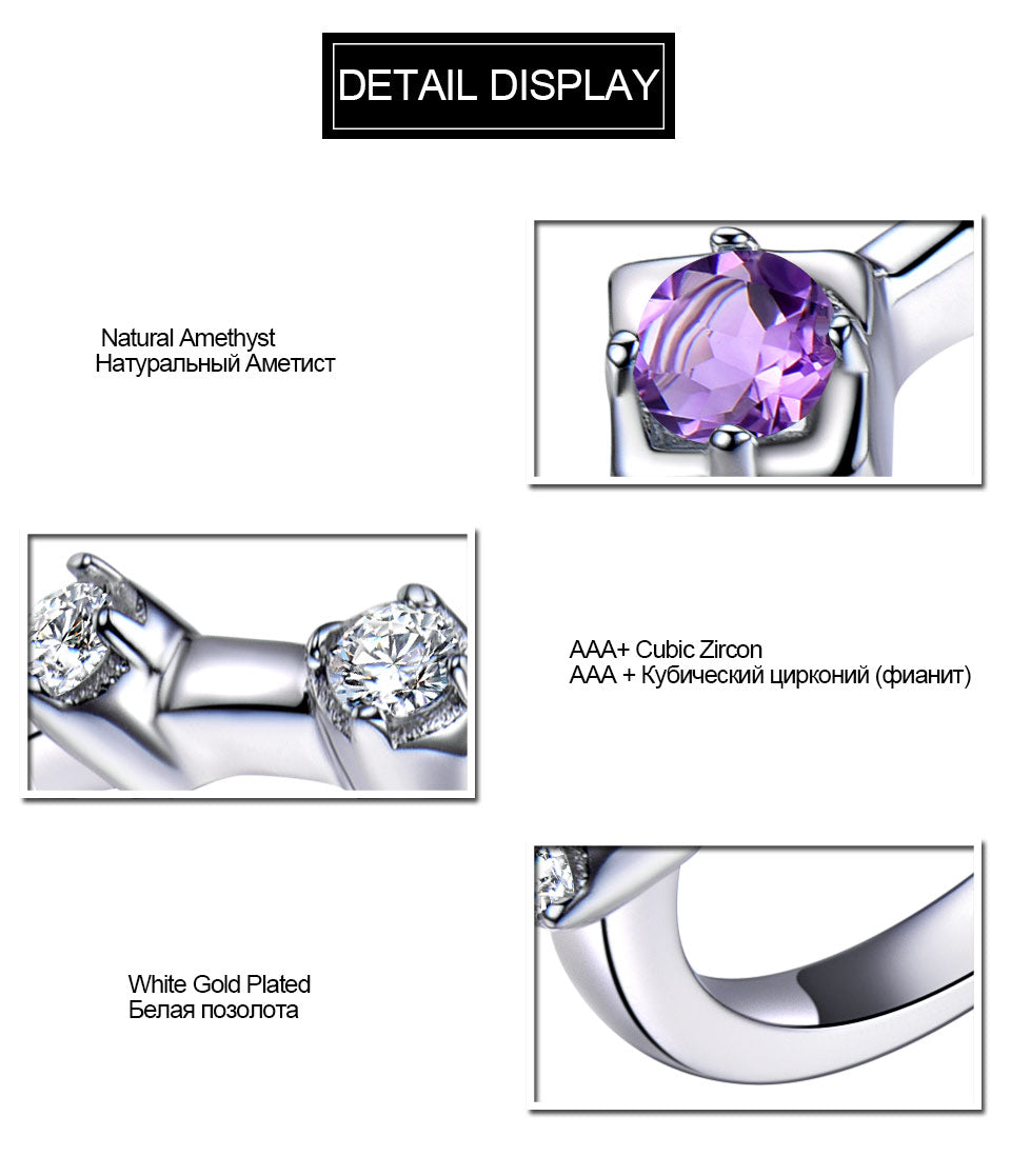 UMCHO Natural Amethyst Solid 925 Sterling Silver Ring - umchos