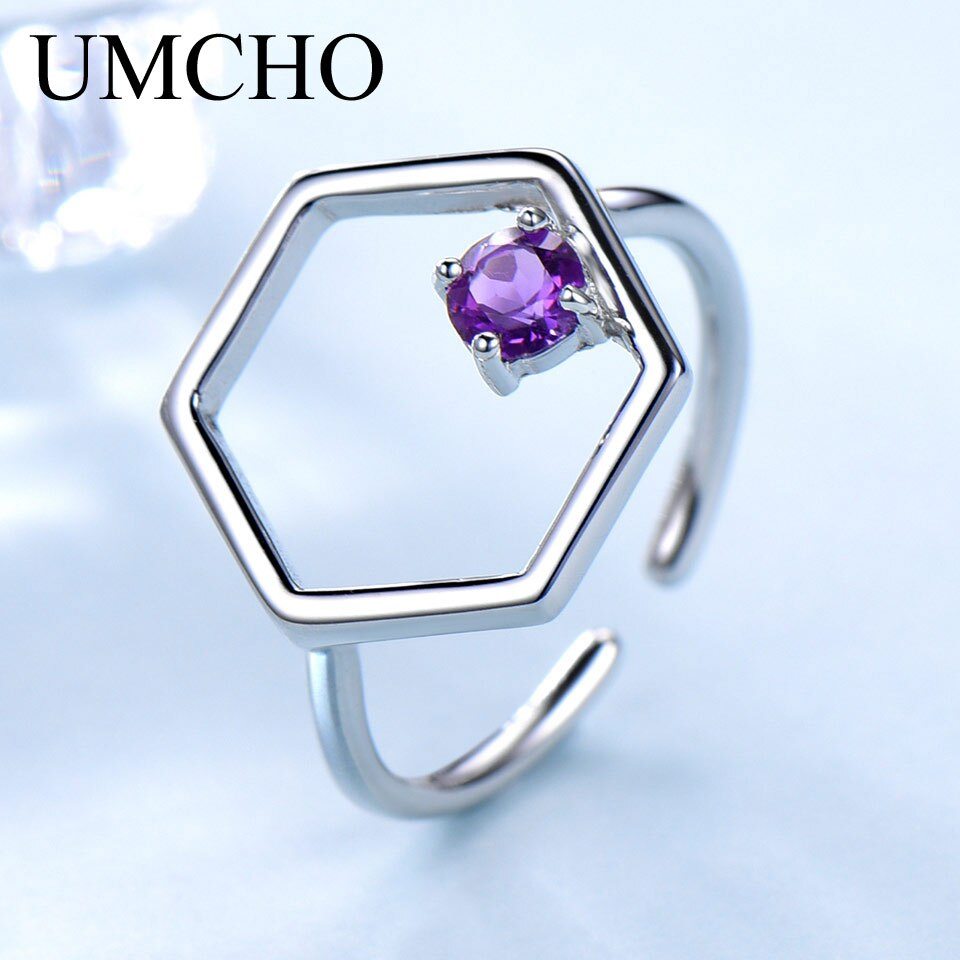 UMCHO Natural Amethyst Gemstone Stone Adjustable Ring - umchos