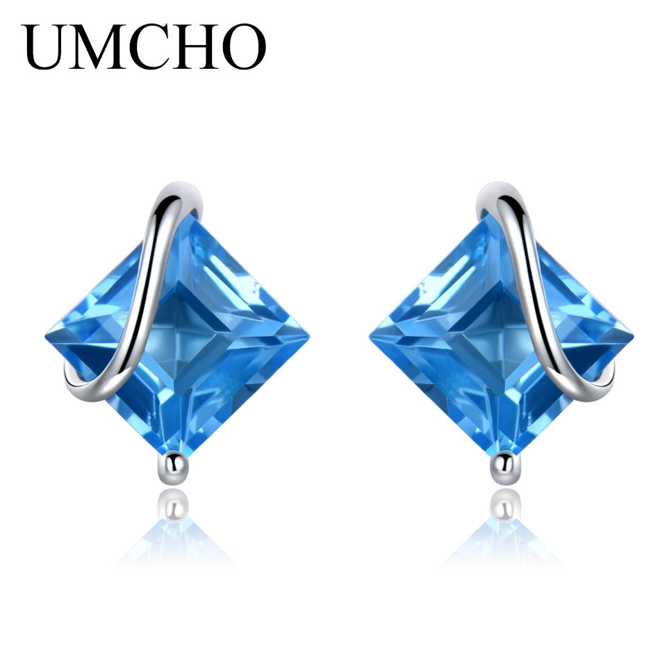 UMCHO 2.5ct Natural Swiss Blue Topaz Gemstone Earrings - umchos