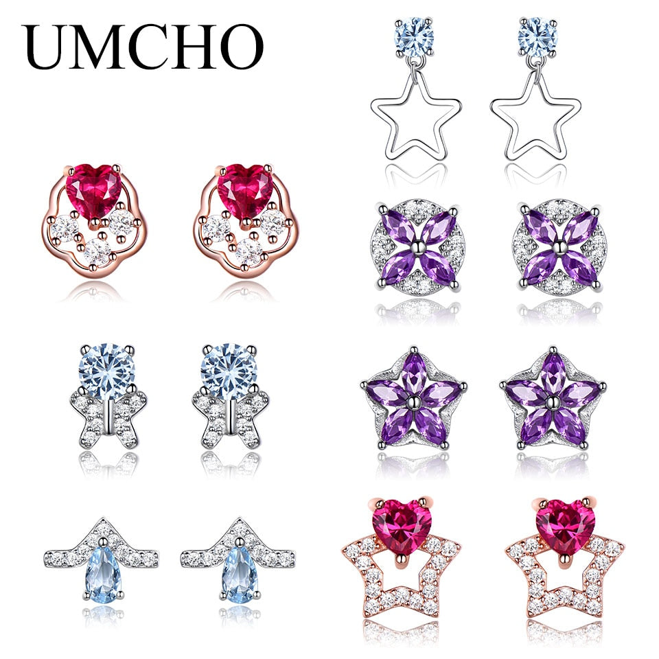 UMCHO Solid 925 Sterling Silver Heart Stud Earrings set - umchos