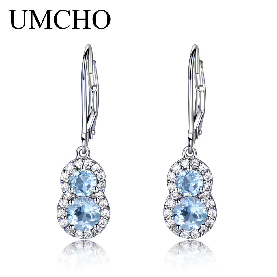 Sky Blue Topaz Gemstone Jewelry Earrings - umchos