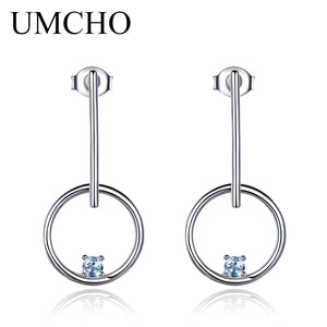 UMCHO Natural Sky Blue Topaz 925 Sterling Silver Earrings - umchos
