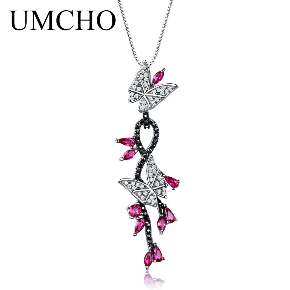 Butterfly Natural Gemstone Romantic Pendant - umchos
