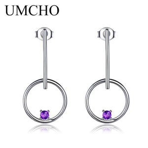 Natural Amethyst 925 Sterling Silver Drop Earring - umchos
