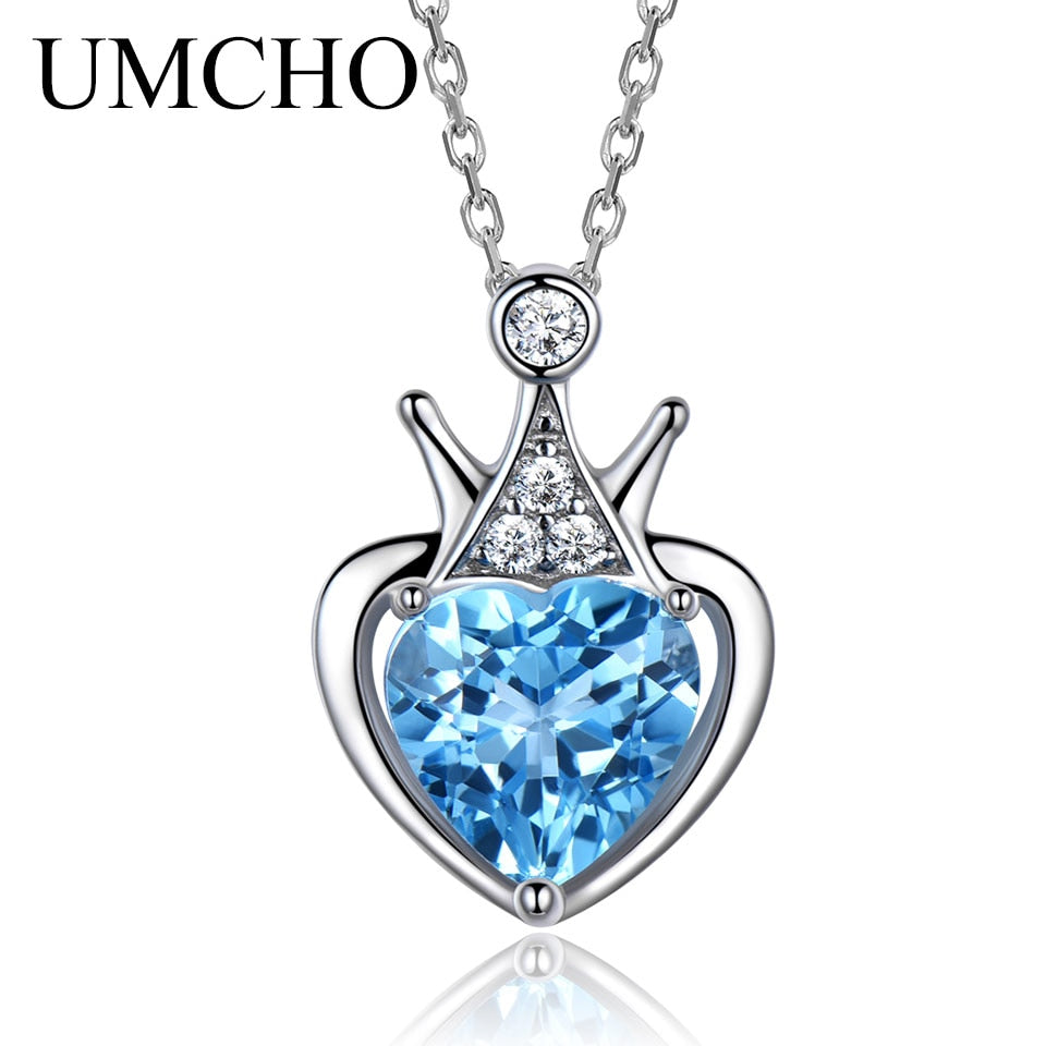2.25ct Natural Blue Topaz Gemstone Pendant - umchos