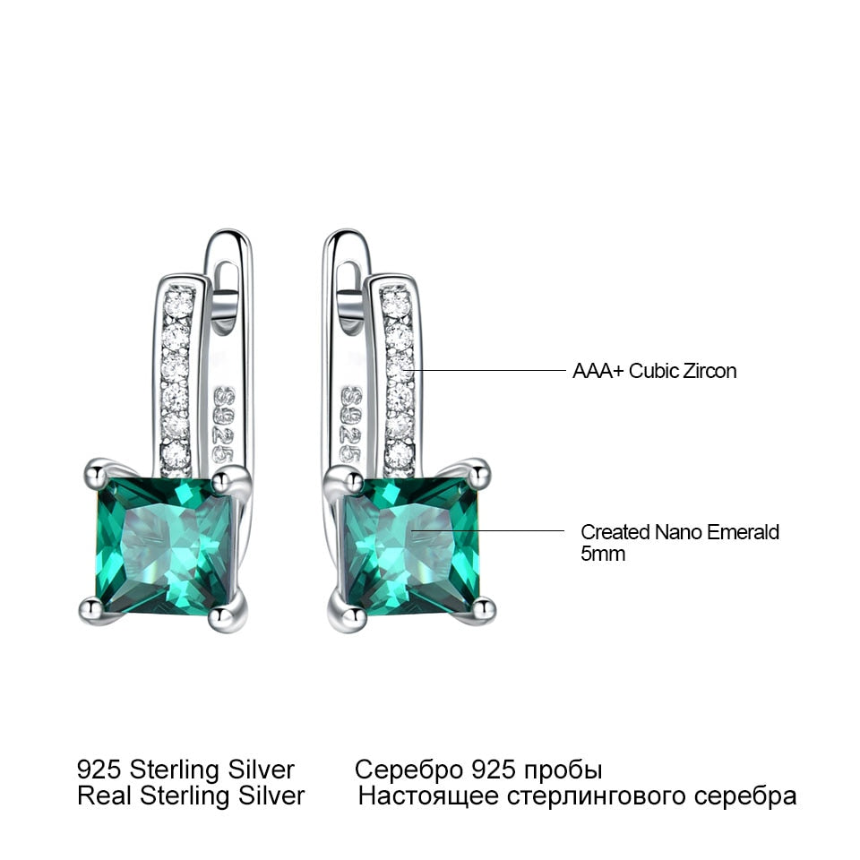 UMCHO Created Green Emerald Gemstone Clip Earrings - umchos