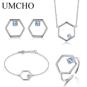 UMCHO Natural Blue Topaz Jewelry Set - umchos