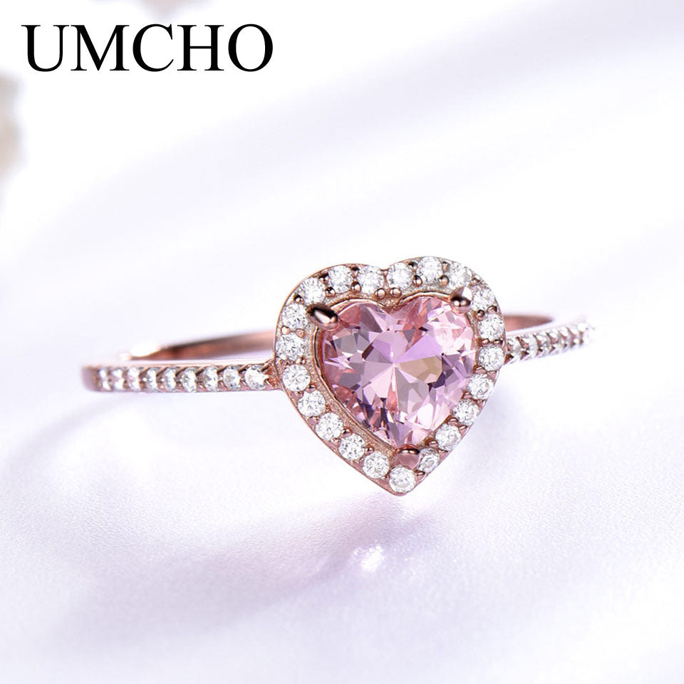 UMCHO Pink Morganite Rings for Women - umchos