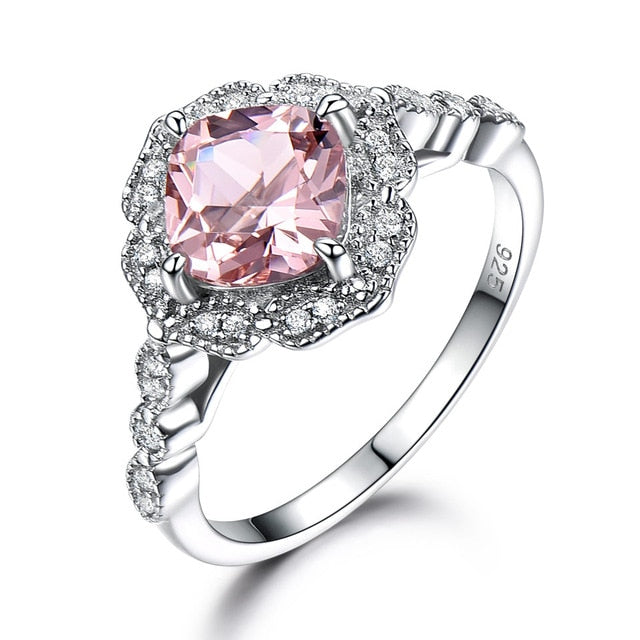 UMCHO Solid Sterling Silver Cushion Morganite Ring - umchos