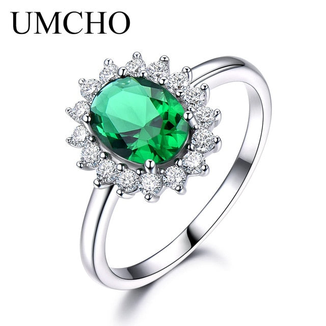 UMCHO Real 925 Sterling Silver Nano Gemstone Ruby Ring - umchos