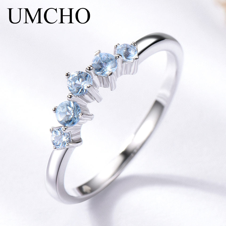 UMCHO Genuine Natural Sky Blue Topaz Ring - umchos