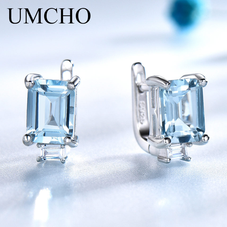 UMCHO Sky Blue Topaz Clip Earrings - umchos