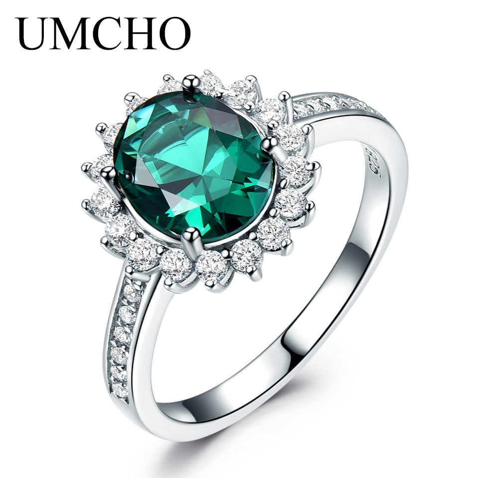 UMCHO Green Created Nano Emerald Birthstone Ring - umchos