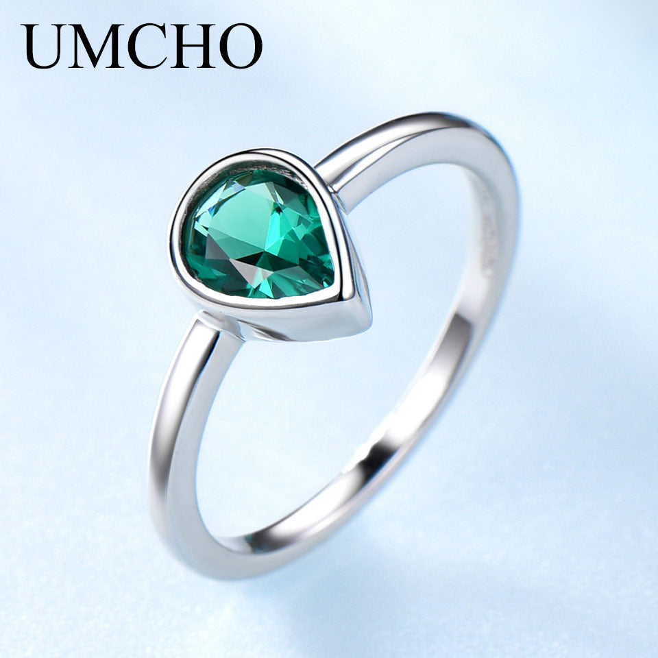 UMCHO Genuine Emerald Gemstone Ring - umchos