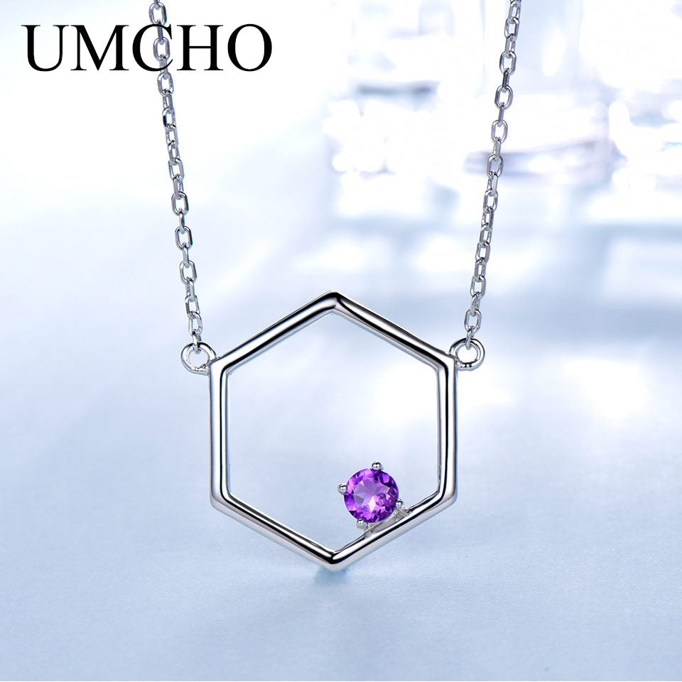 UMCHO Amethyst Real 925 Sterling Silver Necklace - umchos