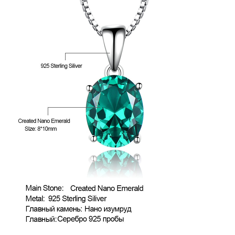 UMCHO Oval Cut Green Emerald Engagement Pendant - umchos