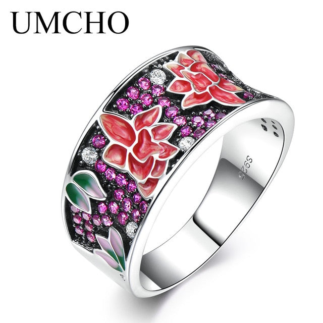 UMCHO Handmade Enamel Plant Flower Unique Ring - umchos