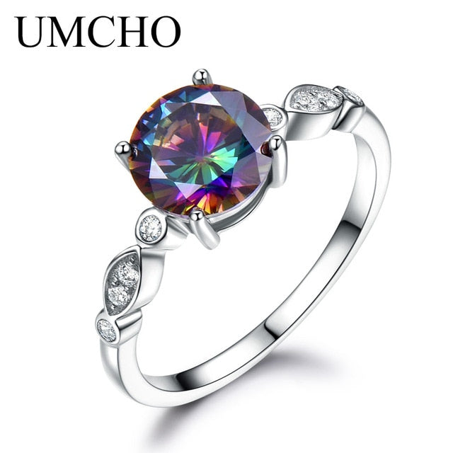 UMCHO Genuine Rainbow Fire Mystic Topaz Ring - umchos