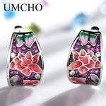 UMCHO Handmade Enamel Red Ruby Clip Earrings - umchos