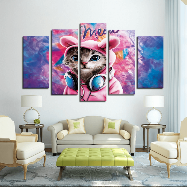 5 Panels Canvas Prints Wall Art for Wall Decorations CATS – WishoDog.com
