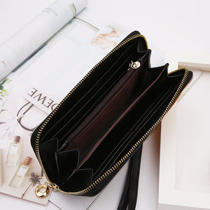 PU Leather Zip Around Wallet For Card, phone and Money