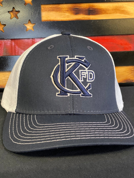 KCFD Trucker Cap with Puff Embroidery - Navy/White