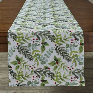 "Winter Berry Print Table Runner 15"" x 72"" - The Shoppes of Altavista"