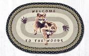 Welcome to The Woods Raccoon Oval Rug 20