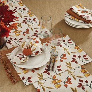 "Fall Leaves & Wheat Table Runner 15"" x 72"" - The Shoppes of Altavista"
