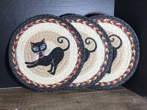 Set of 3 Crazy Cat Braided Jute Trivet