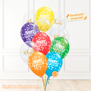 12 globos inflados con helio -Happy Birthday/Cheers- Bio* -RAC013-.