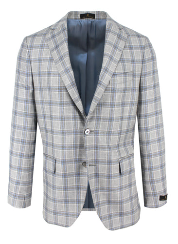 Pearl Grey with Sky Check Sport Coat