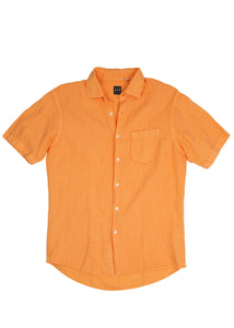 Orange Short Sleeve Linen Sport Shirt