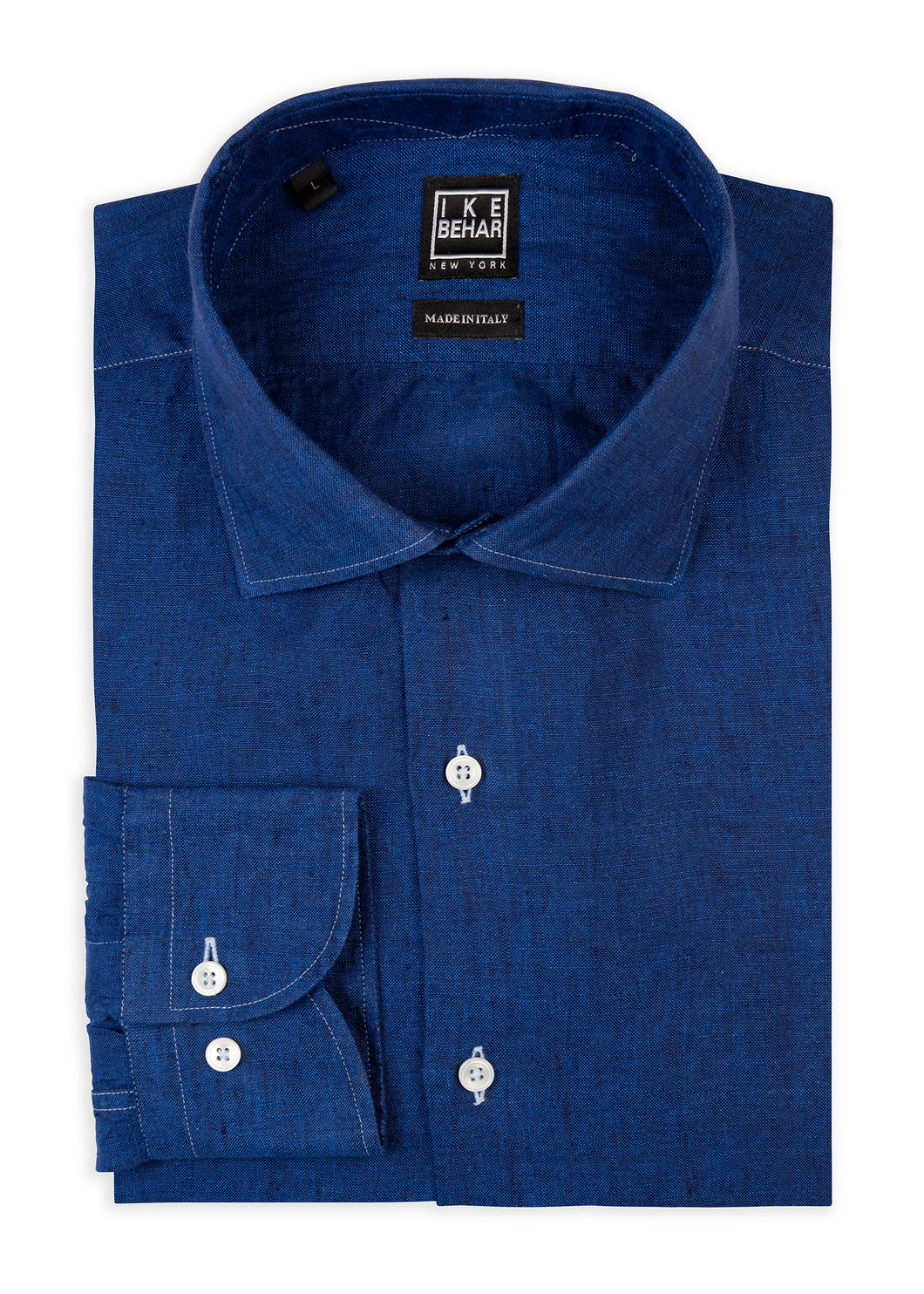 Royal Blue Washed Italian Linen Sport Shirt
