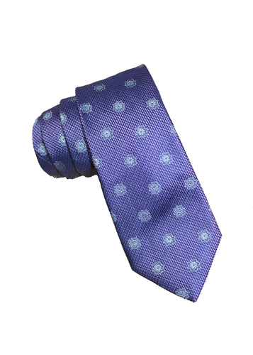 Purple Textured Silk Tie with Blue Star Pattern